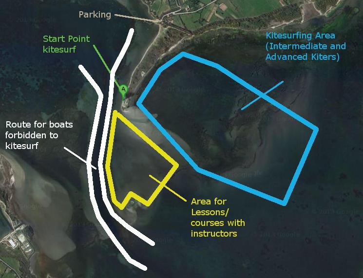 Kite Zones in the Kite Spot of Punta Trettu